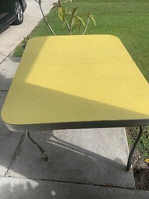 Vintage Mid Century Art Deco  Formica Kitchen Table Yellow W/Leaf   Part Project