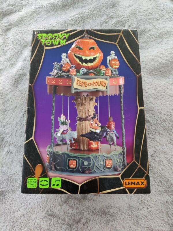 Spooky Town Eerie-Go-Round Carousel Halloween Signature Lemax Animated
