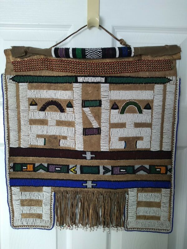 Vintage South African Ndebele Mapoto Beaded Leather & Canvas Wedding Apron
