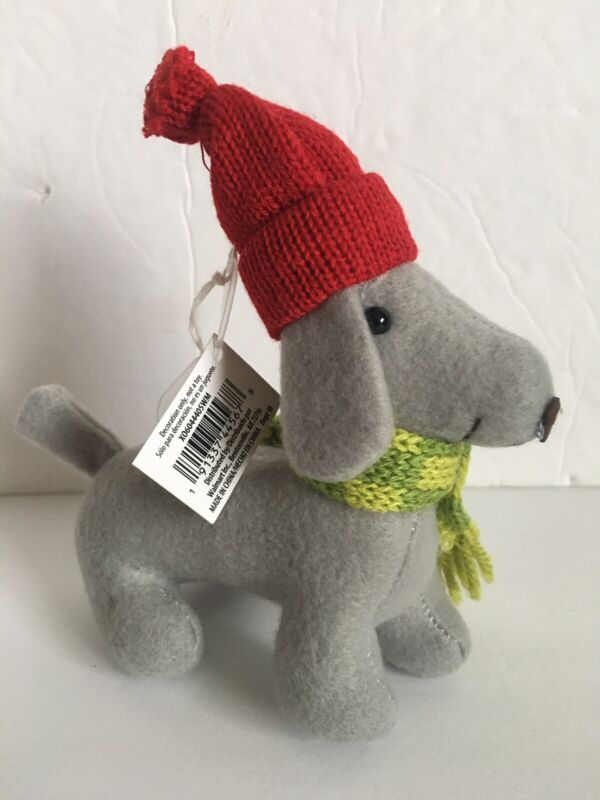 Dachshund Dog Christmas Holiday Ornament NEW Gray Isabella Doxie Dog Santa Hat