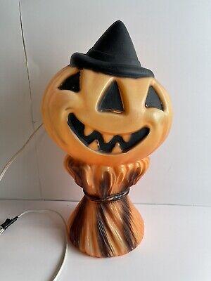 "Vintage Halloween Blow Mold Pumpkin Scarecrow Jack O Lantern Empire 1969 14"""