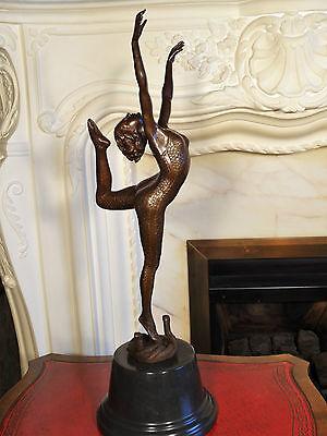 Bronze Statue Sculpture Snake Dancing Girl Figurine after O.Poertzel Interior