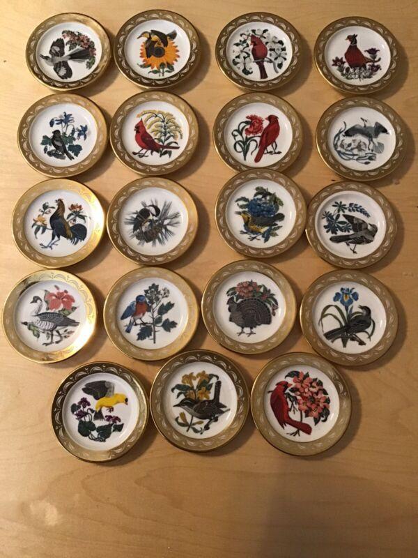 Franklin Porcelain State Bird & Flower Minature Plate Collection