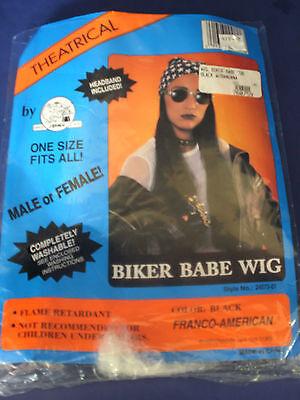 Franco-American~Black BIKER BABE WIG ~Headband~Masquerade Halloween - Biker Wig