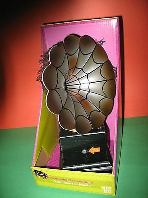 GEMMY ANIMATED GRAMOPHONE PLAYS CLASSIC SONGS HALLOWEEN PROP NEW IN BOX