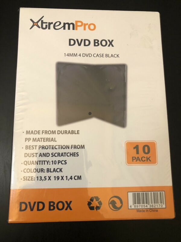DVD BOX 14MM 4 DVD Case Black (10Pack)
