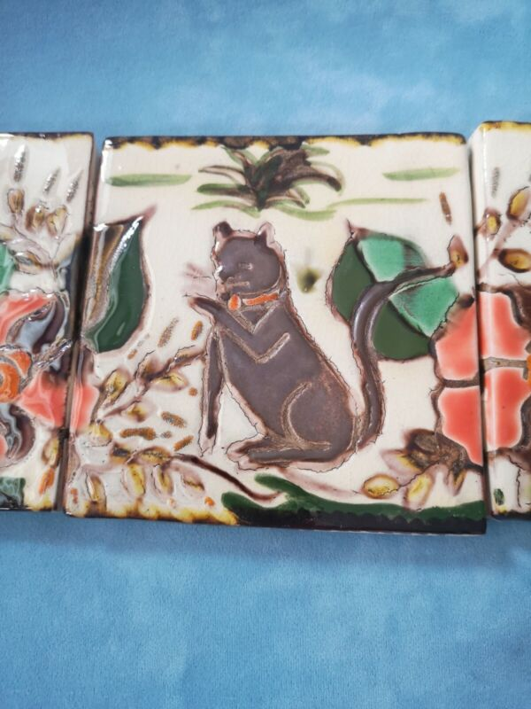 Vintage Hand-Made Relief Art Pottery Ceramic Tile.  Set of three. Cat & flowers