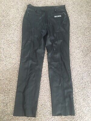 HARLEY DAVIDSON Womens Sz 40/12 Black LEATHER Motorcycle Pants