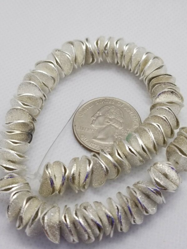 BRUSHED STERLING SILVER PLATED POTATO CHIP WAVY DISC 10mm Metal Spacer Beads