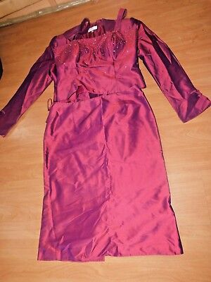 SIZE 14 Ladies SILK 3 PIECE OCCASION OUTFIT by JOHN CHARLES SKIRT TOP Reduced 3-piece Kleid Outfit