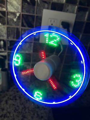 USB Powered Multi Color LED Cooling Neon Real Time Display Function Clock Fan