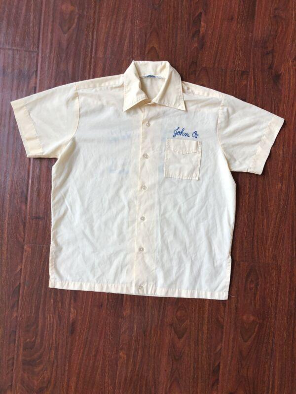 Vtg 1960s 70s Imperial Bowling Button Shirt Size M Chain Stitch Arizona Optical
