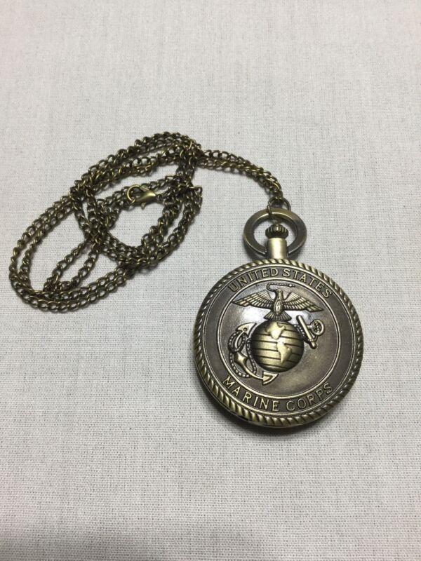 USMC Marine Corps Pocket Watch Eagle Globe and Anchor Quartz
