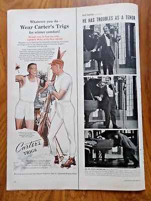1951 Carter's Trigs Underwear Ad  Skiing Theme