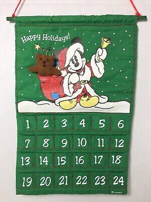 Disney Mickey Mouse Advent Calendar Cloth Fabric Christmas Countdown Hallmark