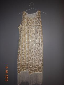 FOR HIRE   1920'S FLAPPER DRESS   SIZE M (8-10 )   white and gold High Wycombe Kalamunda Area Preview