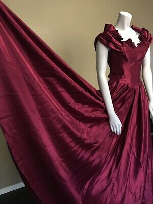 Womens 70s 80s Liquid Satin Victorian Steampunk Prom Wedding Gown Dress JcPenny