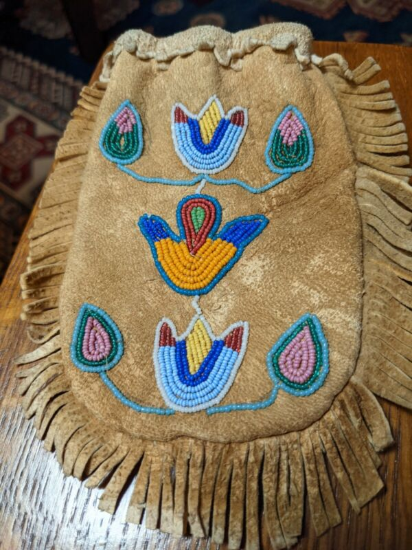 Crow Beaded Bag Pouch Northern Plains