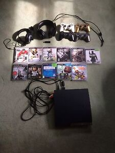 Ps3 , with games , 2 headsets, 4 controllers
