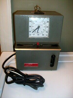 Vintage Working Lathem Mechanical Time Clock Recorder With Key Electric 115v