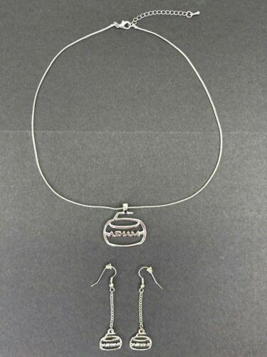 Asham Curling Rock Pendant Necklace & Dangle Earrings Silver Tone