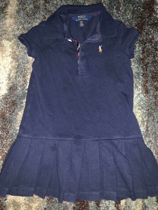 Girls Ralph Lauren Navy Blue Pleated Dress sz 3/3T