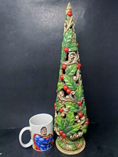 "Carved Resign Christmas Tree Statue 2013 Home For Christmas Hobby Lobby 18.5"""