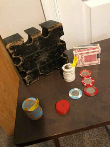 Vintage Poker Chip Holder with Chips and Cards