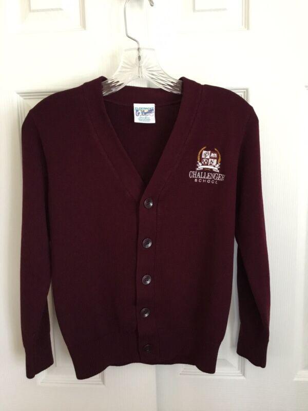 Challenger School Burgundy Cardigan Uniform Sweater Size Youth Medium (10/12)