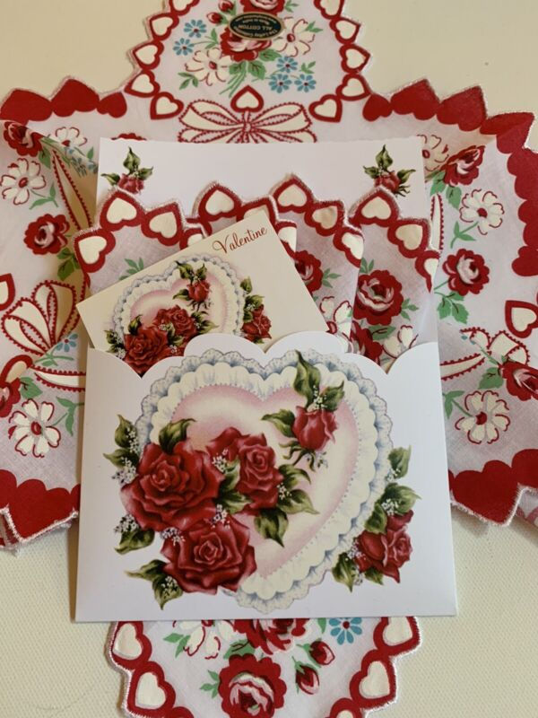 Lovely Mailable Handkerchief Gift Folio ~Valentine Floral Hankie & Message Card