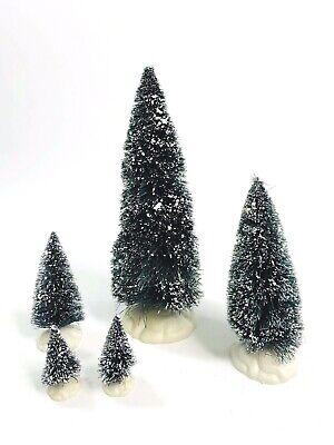 Lemax Bottle Brush Snow Tipped Mini Christmas Tree Set Villages Train Scene