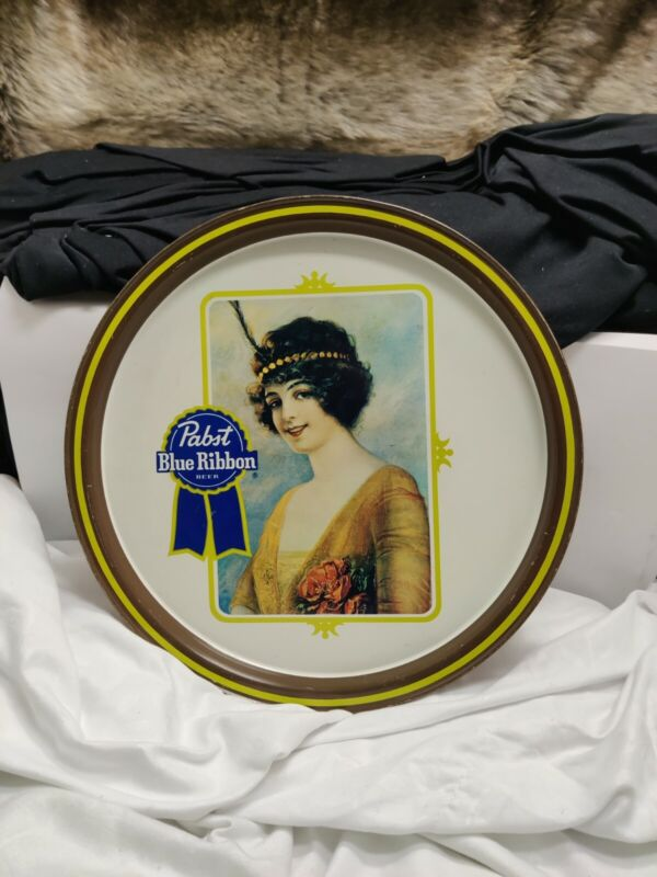 Vintage Pabst Blue Ribbon Tin Beer FLAPPER GIRL Metal Serving Tray Bar Decor