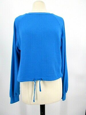 Pam+ Gela Long Sleeve Sweater Crew Neck Drawstring Cropped Sz S Blue New 2857 Cropped Long Sleeve Sweater