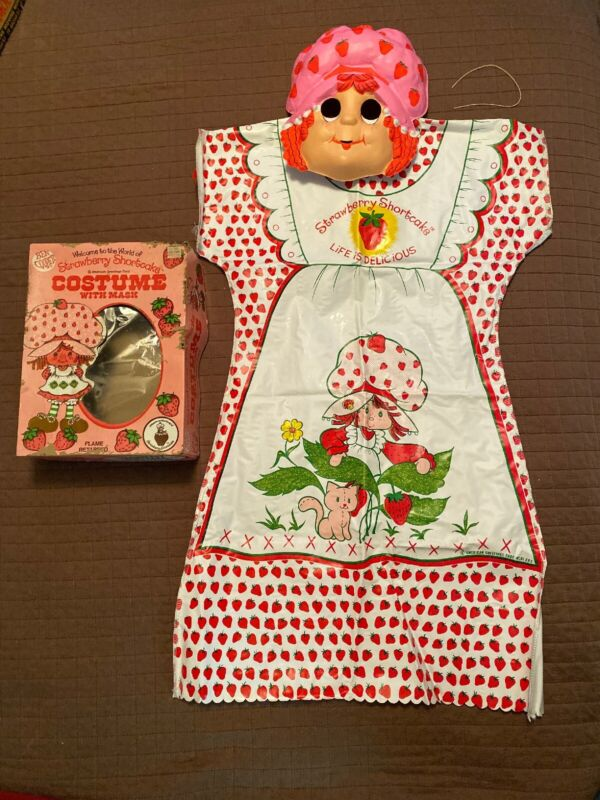 Vintage 1982 Ben Cooper Strawberry Shortcake Costume Mask Outfit Box Complete