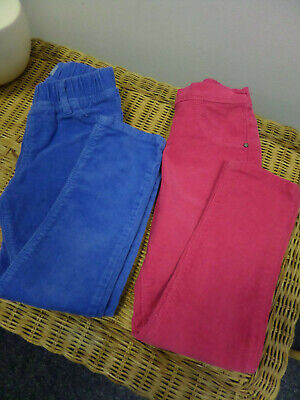 GIRLS X1 PINK X1 BLUE COTTON PULL ON CORDS TROUSERS GEORGE/BABY GAP AGE 5 YEARS
