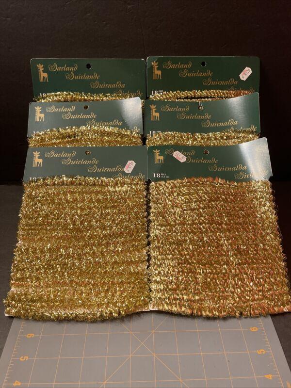 Vintage Santa's Best Small Garland Gold 18 Feet Lot Of 6