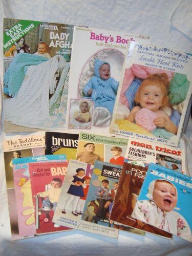Lot of 13 Vintage Children/Baby Knitting/Crochet Pattern Books/Booklets