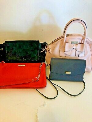 LOT of 4 Kate Spade Bags Pink Bow 2 Black Suede & Tex  Orange Embossed Ostrich