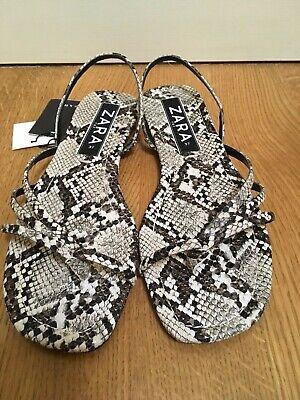 Zara Animal Snake Print Flat Sandals 6.5