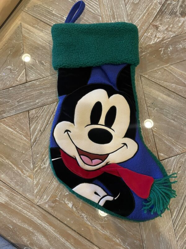 """VINTAGE DISNEY STORE CHRISTMAS STOCKING, PUFFY, 19"""" MICKEY MOUSE"""