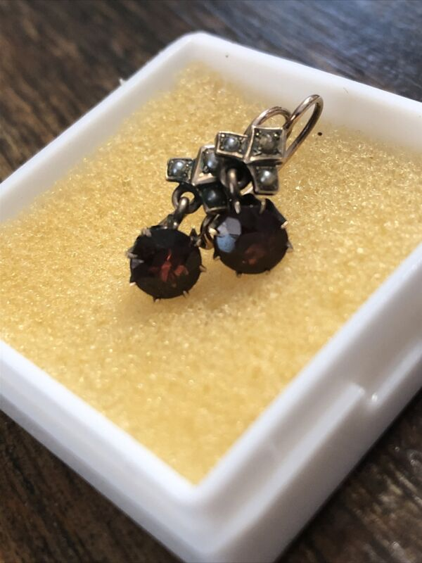 Antique Victorian 10 K 1.5 TCW Garnet And Seed Pearl Earrings
