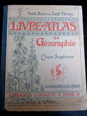 Scolaire ! livre atlas de géographie ! cours supérieur ! larousse ! c22