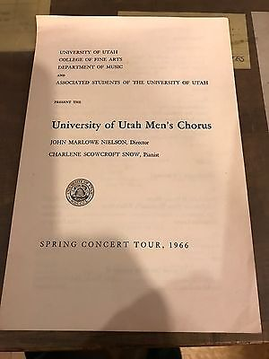"UNIVERSITY OF UTAH MEN'S CHORUS  ""1966"" PROGRAM"