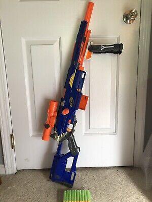 NERF Gun - LONGSTRIKE CS-6 Sniper Rifle - Bi-Pod Scope Ammo Clip Darts