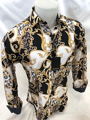 Mens PREMIERE Long Sleeve Button Down Dress Shirt WHITE GOLD LEAF ABSTRACT 304 White Long Sleeve Button