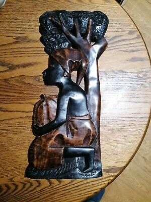 Wooden Hand Carved Ghanaian Wall Plaque of a Woman Under a Tree