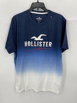 Hollister Mens Size XL Blue White Ombre Logo Short Sleeve T-Shirt