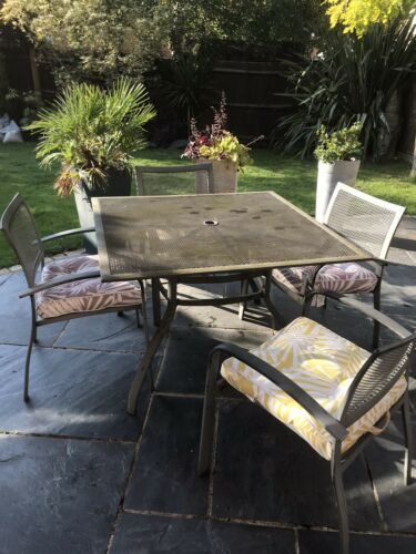 Garden Furniture - Outdoor Garden Patio Furniture Set Dining Table 4 Chairs With Cushion