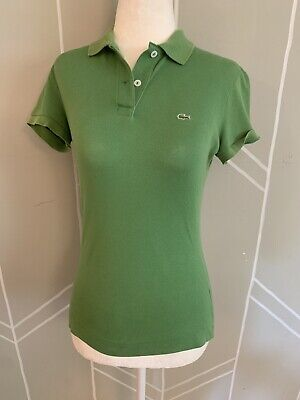 Lacoste Polo Ladies US Size XS / 36 Solid Green Short Sleeve Shirt Gator Logo
