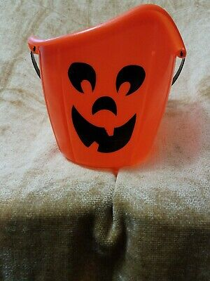Orange Jack-o-Lantern Pumpkin Halloween Trick-or-Treat Candy Bucket